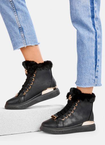 sneakersy czarne koturny